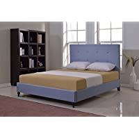 Home Life Cloth Light Blue Linen 47 Tall Headboard Platform Bed with Slats Queen - Complete Bed 5 Year Warranty Included