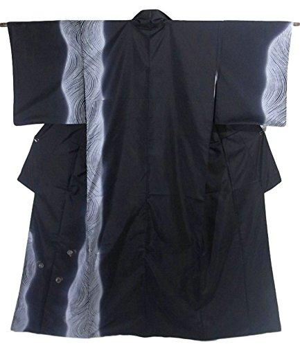 絶えず必要条件調べるリサイクル 着物 訪問着 紬 正絹 袷 流水に蛍の光 裄66cm 身丈166cm