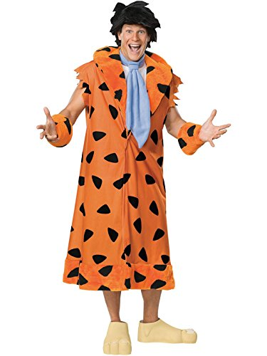 The Flintstones, Fred Flintstone, Adult Plus Size Costume With Wig And Shoe Covers,Leopard, -