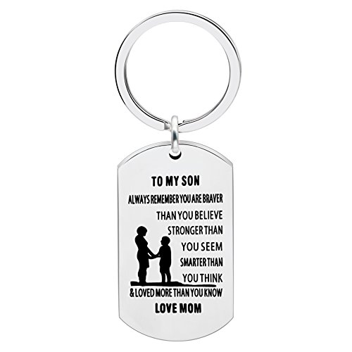 lauhonmin Mother Son Key Chain Ring To My Son - You are Braver Stronger Smarter than you think - Love Mom