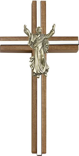 F A Dumont 6 inch Contemporary Risen Christ Cross, Walnut w/Antique Gold Inlay