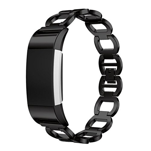 Alimao For Fitbit Charge 2 Genuine Stainless Steel Bracelet Smart Watch Band Strap (Black)