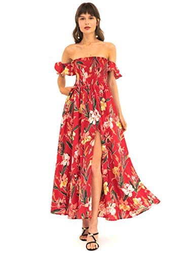Summer Dresses for Women - MaxiFloral OffShoulderDresses Great for Travel, Beach, Cocktail or Party (S, Red Dress)