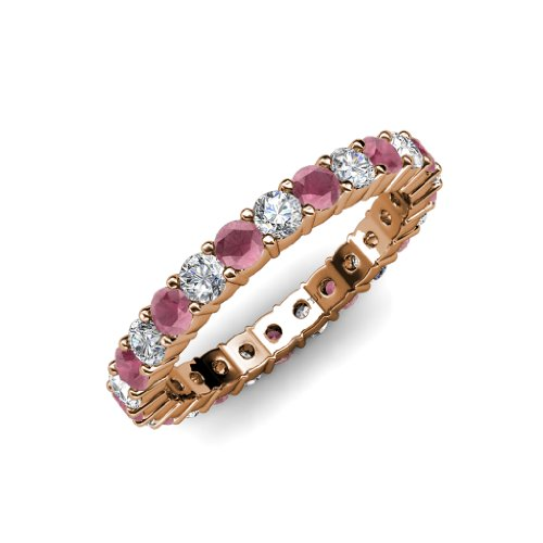 Rhodolite Garnet and Diamond Common Prong Eternity Band 2.16 ct tw to 2.59 ct tw in 14K Rose Gold.size 8.5 (Band Eternity Diamond 2ct Tw)