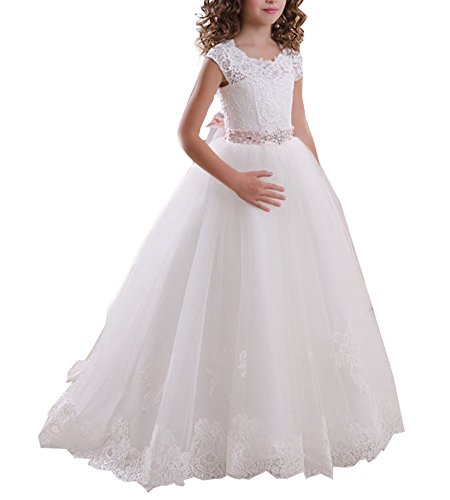 Beauty Bridal Scoop Lace Flower Girls Dresses Belt Girls First Communion Dress (9,White)