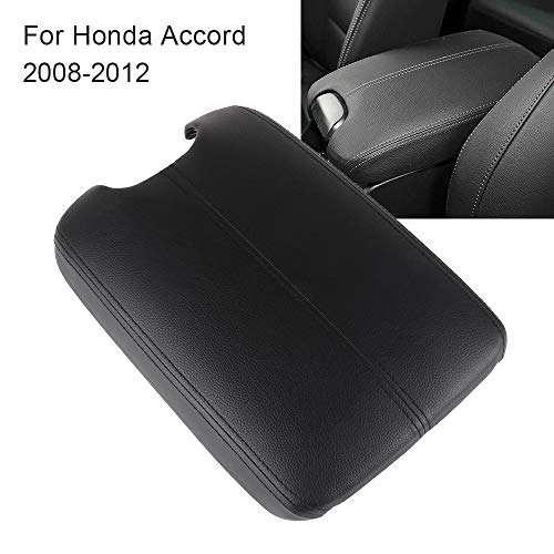 OCPTY Auto Armrest Center Console Lid Skin Cover + Base for 2008 2009 2010 2011 2012 Honda Accord(Black)