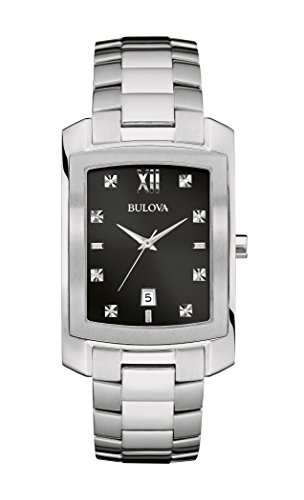 Bulova Diamond Black Dial - Bulova Mens 96D125 Diamond Markers Black Dial Silver-Tone Bracelet 31mm Watch (Renewed)