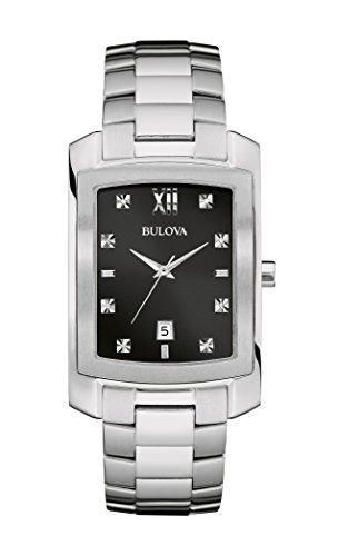 Bulova Mens 96D125 Diamond Markers Black Dial Silver-Tone Bracelet 31mm Watch (Renewed) ()