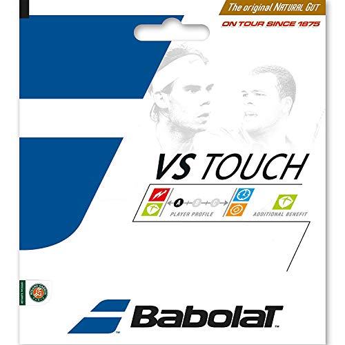 Babolat VS Natural Gut Tennis Strings -Full Sets - 16 Gauge - Black Color - in Multi-Packs - Best Control, Playability Power (4-Packs) ()