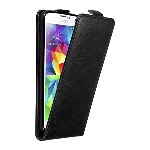 Cadorabo Case Works with Samsung Galaxy S5 Mini / S5 Mini DUOS in Night Black - Flip Style Case with Invisible Magnetic Closure - Wallet Etui Cover Pouch PU Leather Flip