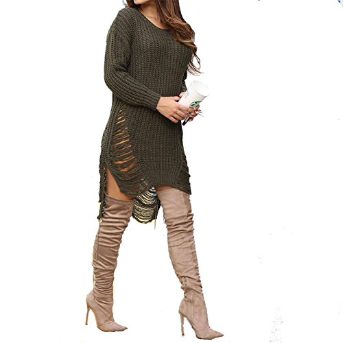 Herebuy8 Women's Casual Hollow Out Side Slit Irregular Loose Tassel Ripped Top Knitted Pullovers Sweater (Army green)