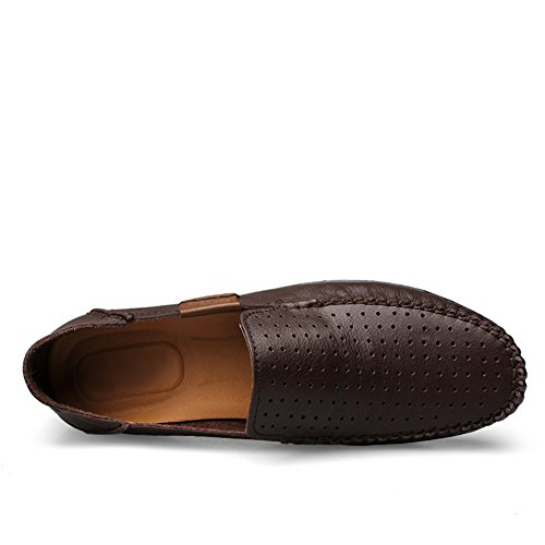 Rismart Mens Soft In Vera Pelle Mocassino Casual Flat Super Confort In Pelle Slip-ons Caffè