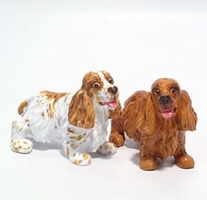 English Cocker Spaniel Dog Ceramic Figurine Salt Pepper Shaker 00011 Ceramic Handmade Dog Lover Gift Collectible Home Decor Art and Crafts