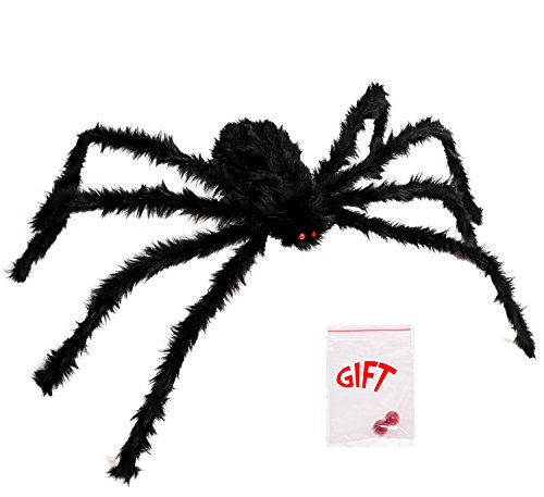 LEShop Spider Decorations,Halloween Spiders,Outdoor Halloween Spider, Hairy Poseable Spider,Scary Spider for Halloween Decorations (59 -