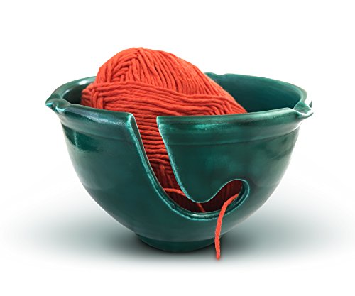 Yarn Bowl Handmade Cerami and Knitting Bag, Forest Green by Yarn Story – Perfect Mother's Day Gift !