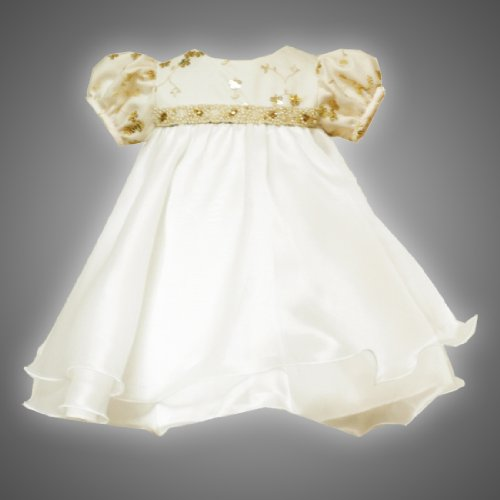 Rare Editions Baby/Infant Girls 12M-24M 2-Piece IVORY METALLIC-GOLD SEQUIN BEADED WAISTLINE ORGANZA Special Occasion Flower Girl Easter Party Dress