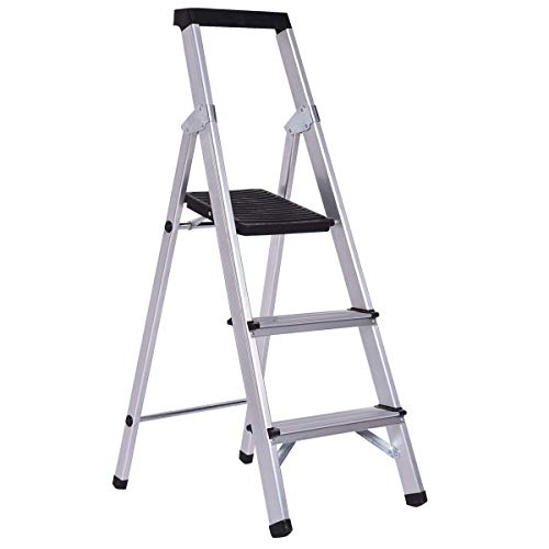 Giantex Folding 3 Step Ladder Aluminum Non-Slip Work Stool Platform 330Lbs Load Capacity, Black ()