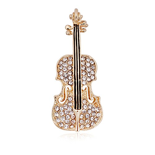 SENFAI Crystal Violin Brooch Music Note Lover Badge Pin Tiny Jewelry Gifts(Gold)