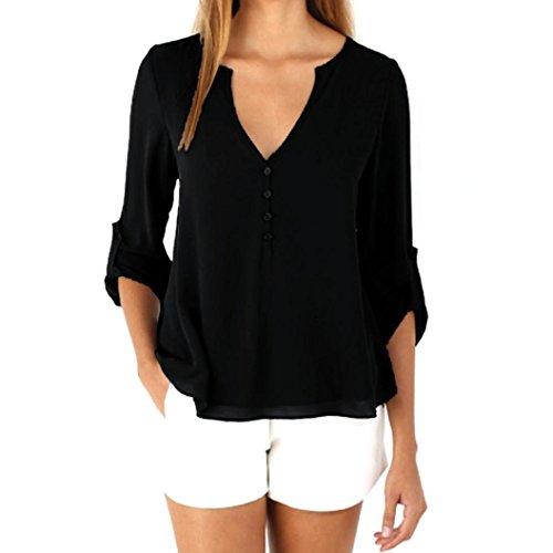 XUANOU Fashion Womens Loose Long Sleeve Chiffon Casual Blouse Shirt Tops Blouse