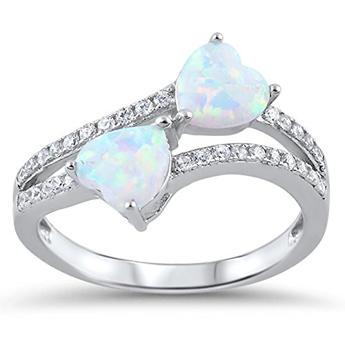 White Simulated Opal Infinity Heart Promise Ring .925 Sterling Silver Band Size ()
