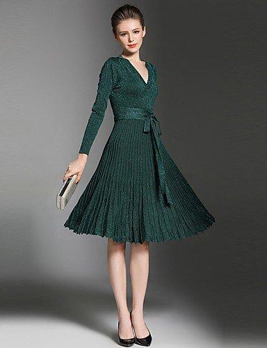 Partido Size Un One La Línea Fiesta Mujer Vestido Brown JIALELE Vestido De De Green De Mujer Fiesta X4Unxf6