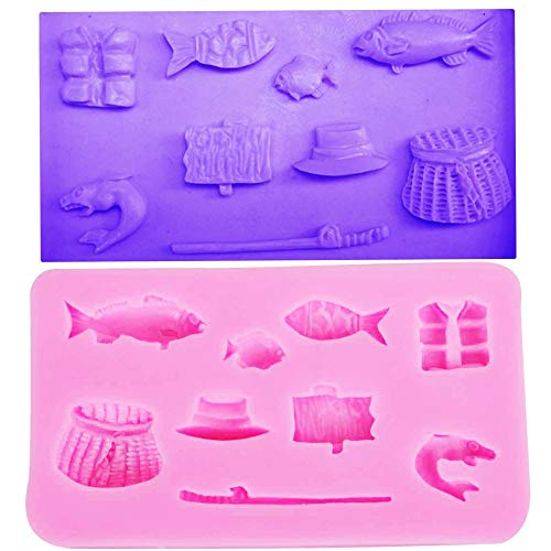 Mold Basket Ice (Cute Fishing Rod Tool Straw Hat Funny DIY 3D Basket Silicone Mold Making Ice Blocks Candy Fondant Chocolates Soaps Cake Mousse Jelly Candle Decorating)