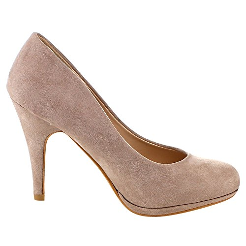 Bella Marie Womens Nine-1 Suede Almond Toe Classic Pumps Stiletto Party Dress Heel Taupe rJpjZvVq
