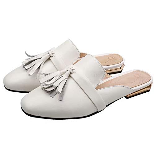 JYshoes Leder Weiß Femme JYshoes Mules Mules XqIx1Xw