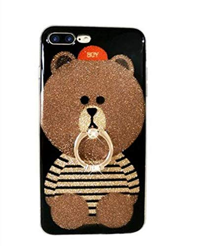 UnnFiko iPhone 7 Plus Kickstand Case, Cute Teddy Bear iPhone 7 Plus Bling Glitter Soft Silicone Rubber Protective Case for Girls with Finger Ring Stand (iPhone 7 Plus, Ring Bear 2)