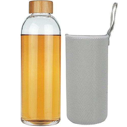 SHBRIFA Borosilicate Glass Water Bottle 32oz, BPA Free Glass Drinking Bottle with Neoprene Sleeve and Leak-Proof Lid (18 oz, Bamboo Lid)