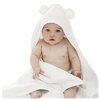"Bamboo Hooded Baby Towel with Bear Ears - The Original 100% Organic Hypoallergenic Extra Soft Water Absorbent | Great for Sensitive Skin | 34x34"" Size for Toddlers and Infant (large, bamboo) Happy Baby Skin"