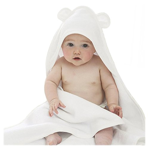 "Bamboo Hooded Baby Towel with Bear Ears - The Original 100% Bamboo Bear Towel Organic Hypoallergenic Extra Soft Water Absorbent | Great for Sensitive Skin | 34x34"" Size for Toddlers and Infant (Towel Mitt Hooded)"