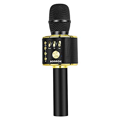 BONAOK Wireless Bluetooth Karaoke Microphone,3-in-1 Portable Handheld karaoke Mic Speaker Machine Home Party Birthday Gift for iPhone/Android/iPad/Sony/PC/All Smartphone (Black&Gold)