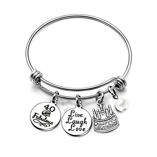 (AGR8T Bangle Bracelets Gifts for Her Happy Birthday Bangles Cake Live Laugh Love Charms Women Girl (40th Birthday))