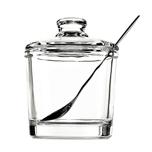 Vencer Sugar Bowl Clear Glass With Lid and Stainless Steel Sugar Serving Spoon, 6.3 Ounces (180 ML),Sugar Canister, Sugar Dispenser, VFO-027