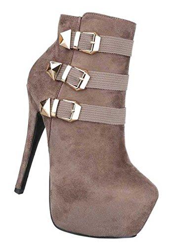 Damen Stiefeletten Schuhe Boots Mit Deko Schwarz Hellbraun