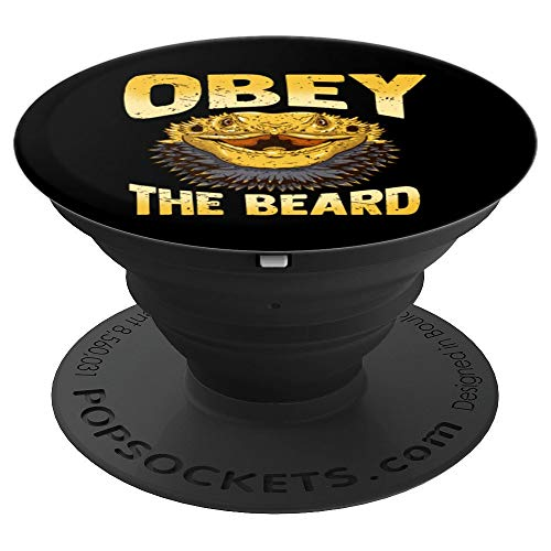 (Lizard Reptile Accessories Obey The Beard Bearded Dragon - PopSockets Grip and Stand for Phones and Tablets)