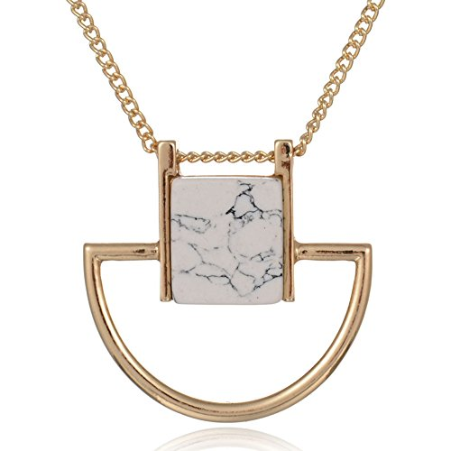 Jewelry 18K Gold Plated Casual Fashion 2015 Sweater Chain Square Faux Marbled Stone Pendant Necklaces