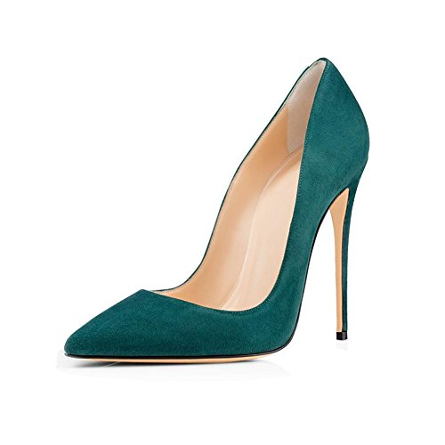 Alto Shallow Mouth a Banchetto Antiscivolo Single Punta Shoes Donna dark Tacco Large Stiletto PU Size Pump 40414243444546 YWNC Party Fine 45 green punta Suede TqtSWwC