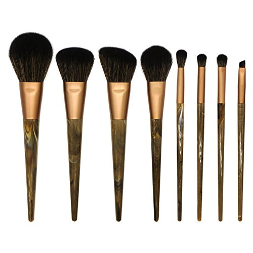 e Makeup Brush Set Short Rod Marble Makeup Brush Tool Portable Fur Brush Set 8 Pack-Brown hair (8 Round Deep Olive)