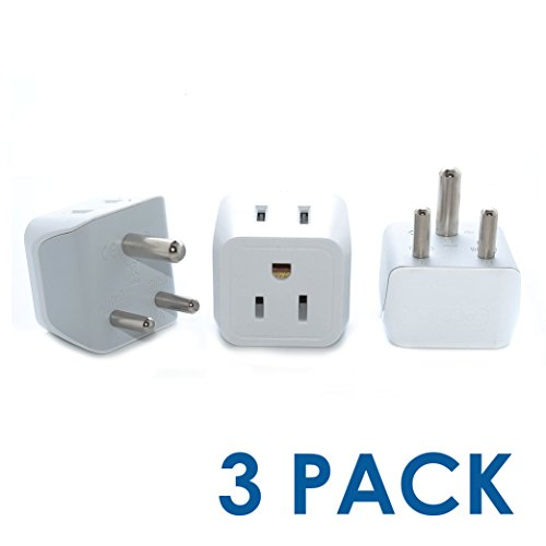 Plug India Travel - India, Nepal, Pakistan Travel Adapter Plug by Ceptics - Type D (3 Pack) - Ultra Compact - Dual USA Input - Safe Grounded Perfect for Cell Phones, Laptops, Camera Chargers and More (CT-10)