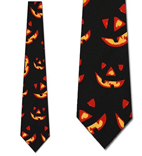 Halloween Necktie - Jack-O-Lantern Tie Halloween Ties Pumpkin mens Necktie