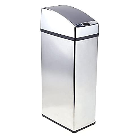 Whitelotous 6L Stainless Steel Smart Sensor Trash Can Square Auto Wireless Induction Waste Bin Battery (6 Stainless Steel Trash Ring)