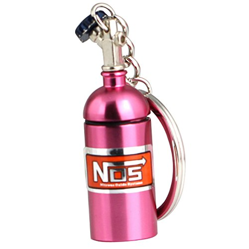 (Maycom Creative New NOS Mini Nitrous Oxide Bottle Keyring Key Chain Ring Keyfob Stash Pill Box Storage Turbo Keychain (Pink))