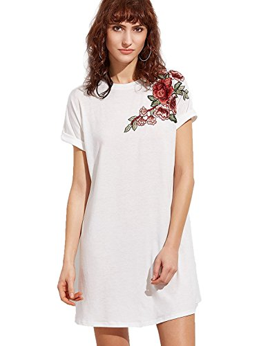 Floerns White Shift Casual Print Women's Flower Dress Short 1 Sleeve q6F4q7