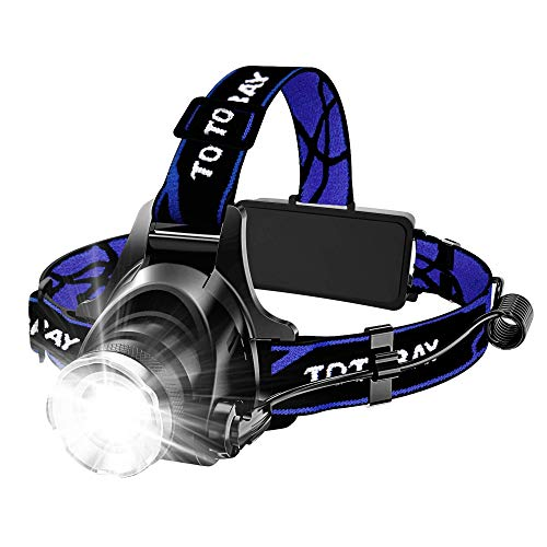 Headlamp, Super Bright LED Headlamps 18650 USB Rechargeable IPX4 Waterproof Flashlight with Zoomable Work Light, Hard Hat Light for Camping, Hiking, Outdoors (Blue) (Best Tactical Led Flashlight 2019)