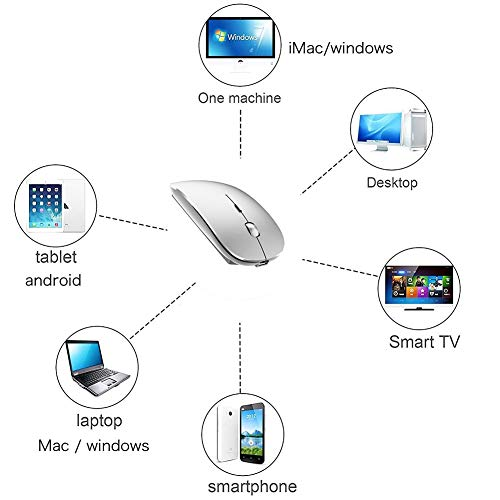 Rechargeable Wireless Mouse for Laptop Wireless Mouse for MacBook Pro MacBook Air Chomrebook Desktop Computer (Silver)