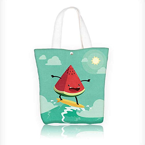Ladies canvas tote bag watermelon on surf board One of the popular summer's activities reusable shopping bag zipper handbag Print Design W11xH11xD3 INCH