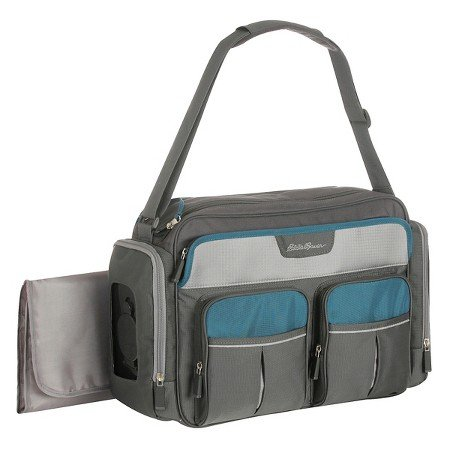 Eddie Bauer Duffle Diaper Bag  Grey Oasis Blue