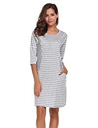 Meaneor Women's Casual 3/4 Sleeve Loose Striped T Shirt Dress with Pockets